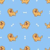 cute golden retriever filhote de cachorro dos desenhos animados sem costura padrão vetor