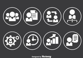 Ícones do círculo de trabalho das pessoas vetor