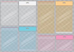 Sachês transparentes coloridos vetor