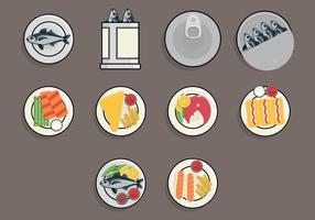 Conjunto de ícones de alimentos Fry Food vetor