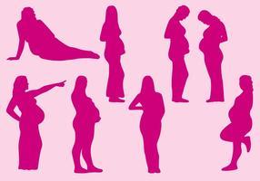 Silhuetas de mulheres grávidas vetor