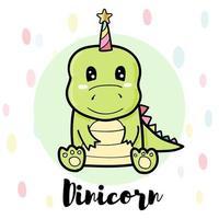 personagem de dinossauro verde vetor