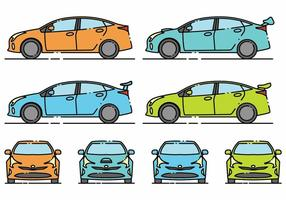 Conjunto de ícones do Prius Minimlaist vetor