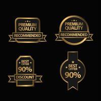 conjunto de emblemas de qualidade premium dourado
