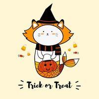 sereia de gato em traje de bruxa vetor