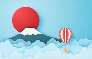 balão de ar quente flutuando no céu vetor