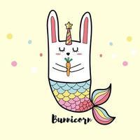 coelho bunnicorn sereia vetor