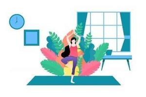 ilustração em vetor de uma mulher fazendo yoga em casa.
