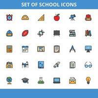 pacote de ícones da escola vetor