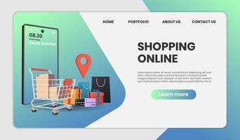compras online com modelo de site de serviço de entrega vetor