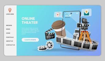 design de modelo de site de teatro online vetor