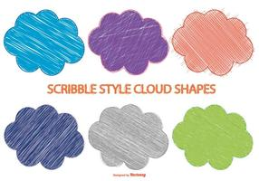 Formas de Nuvem de estilo Scribble vetor