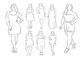 Modelo feminino de tamanho grande vetor