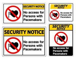 conjunto de sinal de marcapasso de aviso de segurança
