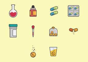 Conjunto de ícones de medicina efervescente vetor