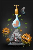 conceito de colagem de poluição do aquecimento global