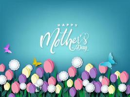 feliz dia das mães cartão corte papel flor design vetor