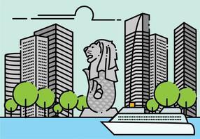 Paisagem Minimalista Merlion Singapura vetor