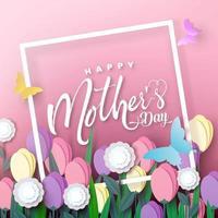 feliz dia das mães cartão design de moldura rosa vetor
