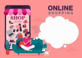 banner de compras de smartphone online vetor
