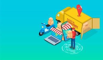 Pessoa de entrega de comércio eletrônico com scooter e caminhão vetor