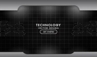 textura de rede de tecnologia preto e cinza metal vetor