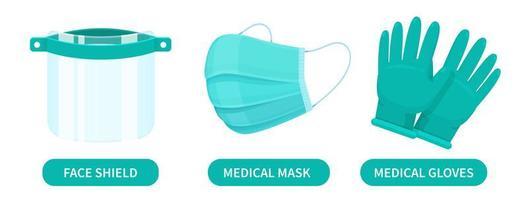 escudo facial, máscara médica e luvas de borracha vetor