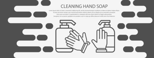 banner de sabão para as mãos cinza de limpeza vetor