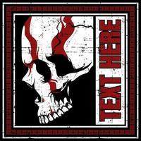 crânio com design vermelho no quadro de texto grunge vetor