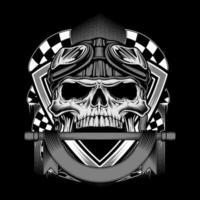 motociclista retrô vintage usando capacete e banner emlem vetor