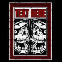 duas cabeças de caveira com raiva de estilo grunge vetor