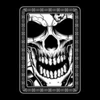 crânio zangado preto e branco com moldura ornamental vetor