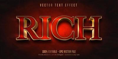 efeito de texto rico estilo ouro vermelho e brilhante
