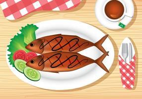 Prato de peixe frito vetor