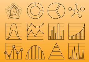 Ícones da linha do gráfico vetor