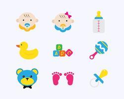 Ícones planos do bebê vetor