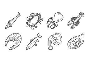 Vetor de ícones de frutos do mar em bruto