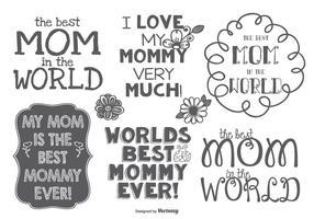 Melhor conjunto de etiquetas desenhadas à mão Mommy vetor