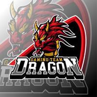 emblema do logotipo do dragão de jogos esportivos vetor