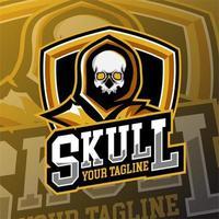 emblema do logotipo do crânio de jogos esportivos vetor