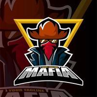 esports team mafia cowboy man jogos logo vetor
