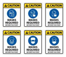 máscaras de símbolo de cuidado necessárias vetor