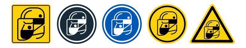 conjunto de ícones de escudo protetor facial vetor
