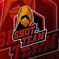 emblema encapuçado esport do logotipo do jogo do fantasma