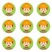 avatar de bombeiros com várias expressões vetor