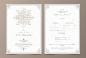 layout de menu vintage com ornamentais vetor