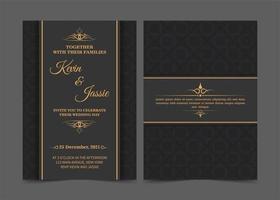 modelo de convite de casamento preto e dourado vetor