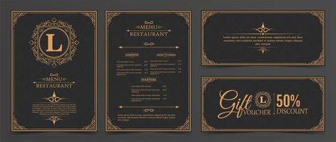layout de menu com ornamentos vetor