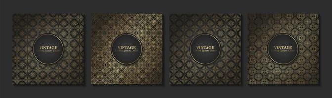 conjunto de vintage damasco sem costura padrão vetor