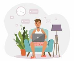 freelancer homem trabalhando no sofá em família shorts vetor